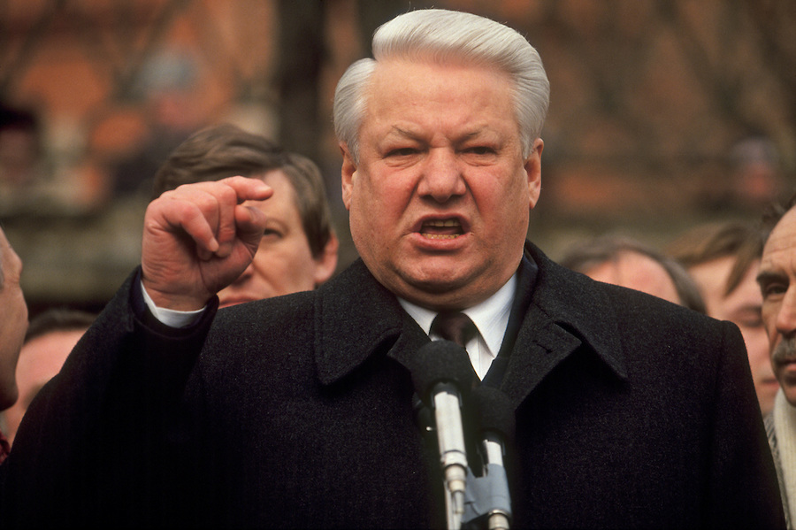 Moscow, Russia, 28/03/93. President Boris Yeltsin addresses pro-democracy demonstrators who have marched to the Kremlin in support of his struggle with the Communist dominated Russian Parliament.