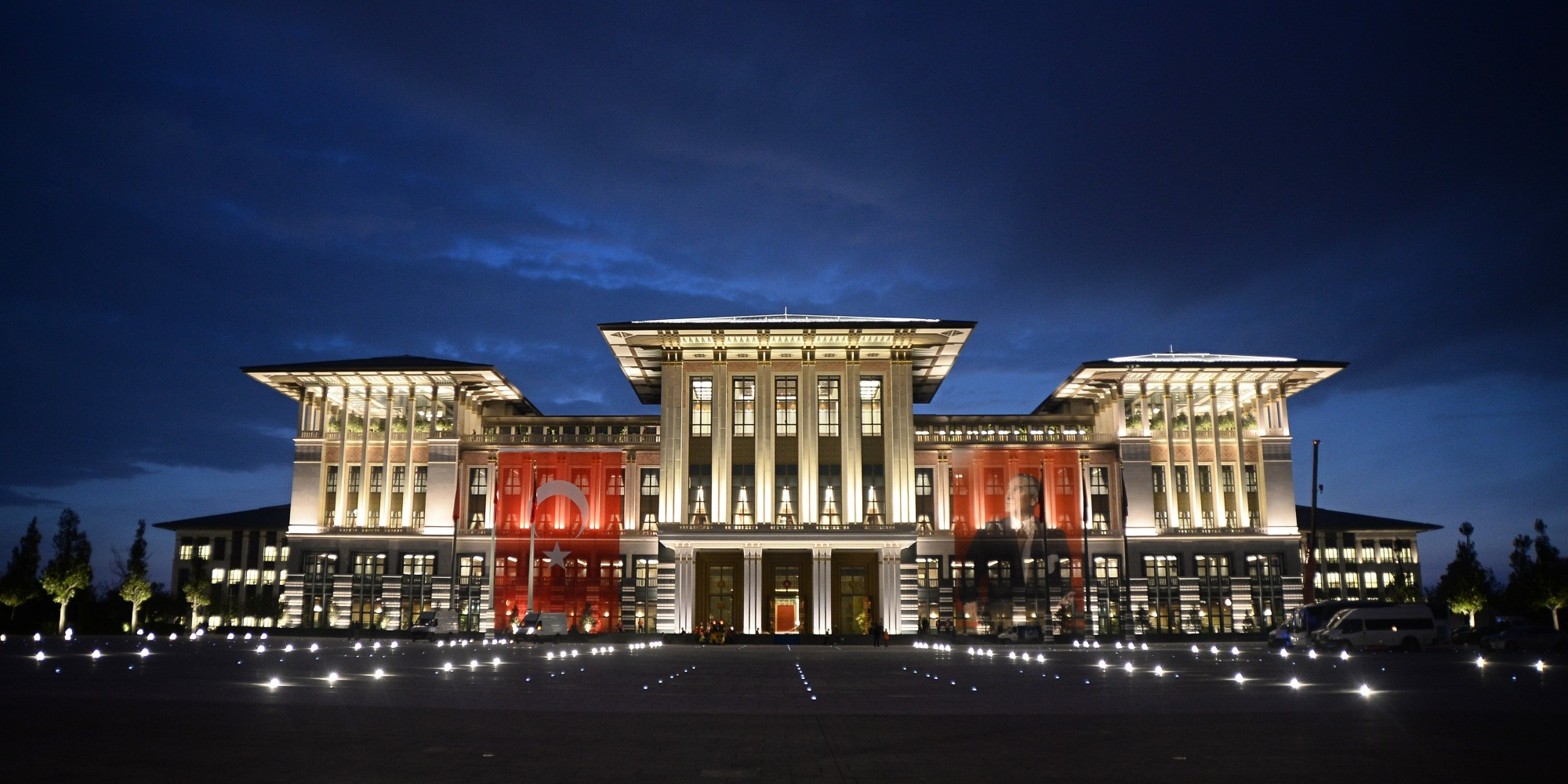 ANKARA, TURKEY - OCTOBER 28: A general view of Turkey's new Presidential Palace, built inside Ataturk Forest Farm and going to be used for Turkey's 91st Republic Day Reception for the first time which is going to be hosted by Turkish President Recep Tayyip Erdogan and his wife Emine Erdogan on October 29, is seen in Ankara, Turkey on October 28, 2014. (Photo by Volkan Furuncu/Anadolu Agency/Getty Images)