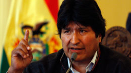 Bolivia's President Evo Morales speaks during a press conference at the government palace in La Paz, Thursday, Nov. 27, 2008. President George W. Bush suspended Wednesday Bolivia's participation in the Andean Trade Promotion and Drug Eradication, a system that offers breaks on some U.S. tariffs to Andean nations in exchange for cooperation in counter narcotic efforts. Bolivia's President Evo Morales ordered last October the U.S. Drug Enforcement Administration to leave Bolivia. (AP Photo/Juan Karita)