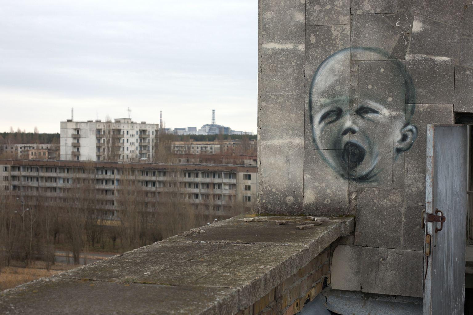 Graffiti of a crying baby on a wall, Chernobyl Power Plant, Chernobyl, Ukraine