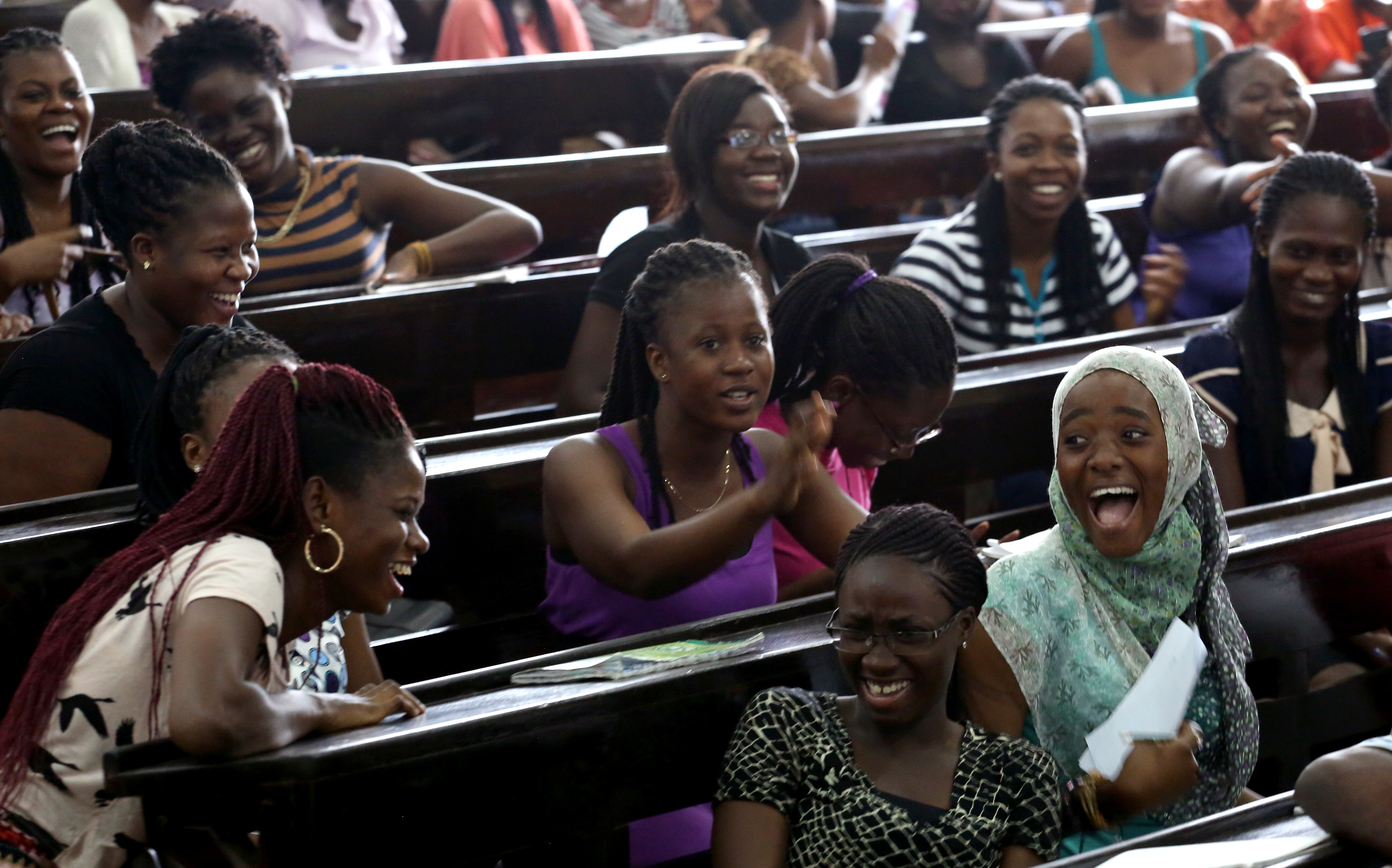 University of Ghana students laugh during a class lecture in Accra, Ghana on October 14, 2015. Photo © Dominic Chavez/World Bank
