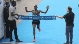 Alphonce Simbu who finished first at the finish line during the Mumbai Marathon 2017. Express photo by Deepak Joshi, 15th January, 2017, Mumbai.