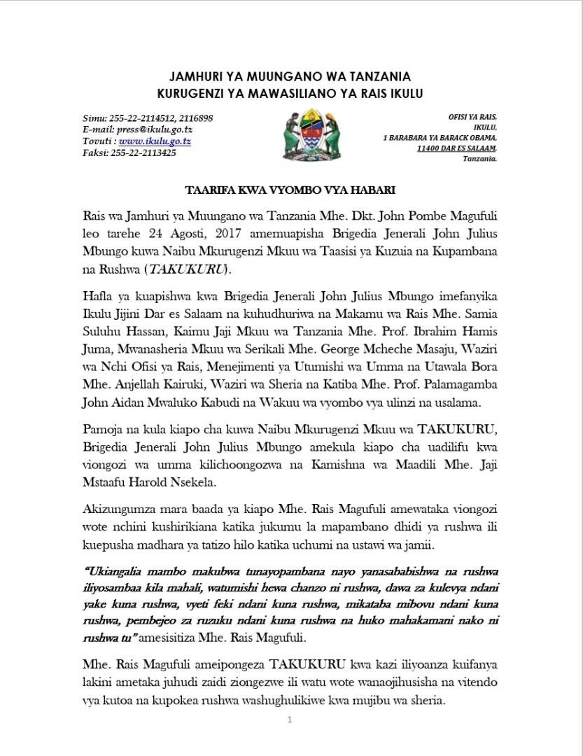 Rais Magufuli Amuapisha Brigedia Mbungo TAKUKURU