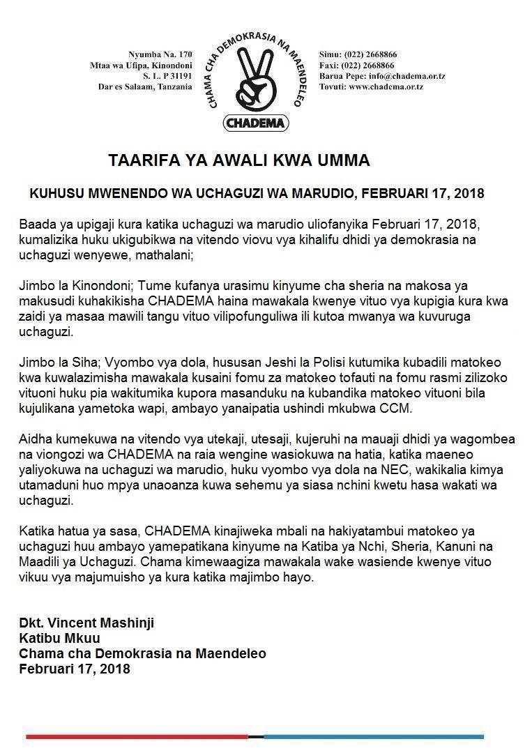 CHADEMA wayakana matokeo ya Uchaguzi wa Marudio majimbo ya Kinondoni na Sihakeo ya Uchaguzi wa Marudio