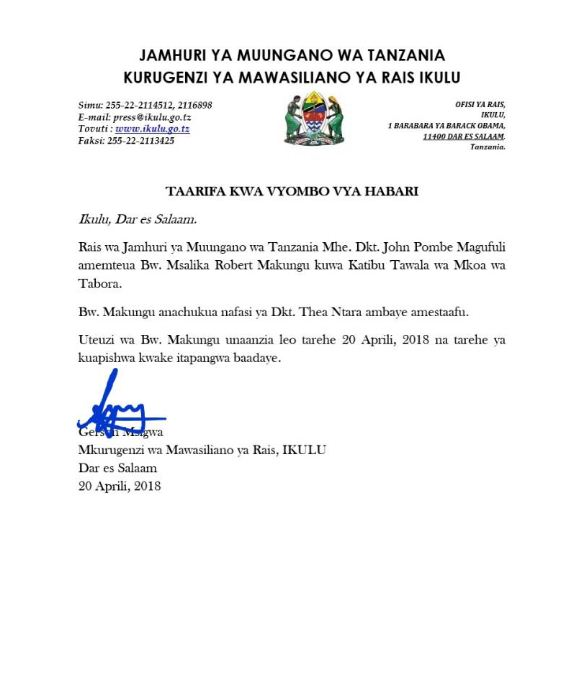 Rais Magufuli : AMTEUA MSALIKA MAKUNGU KUWA KATIBU TAWALA TABORA